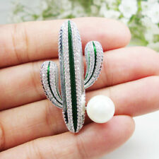 Pearl Brooch Pin High Quality Gifts New Zircon Crystal Green Desert Cactus