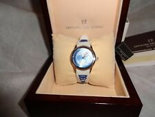 OFFICINA DEL TEMPO ROUND BLUE FACE SILVER CASING WHITE STRAP WRIST WATCH  NEW