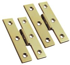 """A Pair of Solid Brass Cabinet """"H"""" shape Polished Butt Hinges (PB54)"""