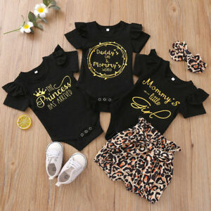 Newborn Kid Baby Girls Clothes Mommy's Little Girl Tops Ruffle Pants Outfits Set