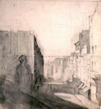 France 1890:  A Lady views an Old Street on Montmartre, Paris, Charcoal, Fine