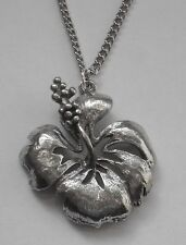 Chain Necklace #1514 Pewter HIBISCUS FLOWER (30mm x 26mm)