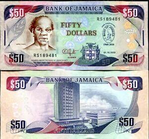 JAMAICA 50 DOLLARS COMM. 2010 50th BOJ COMM. P 88 UNC