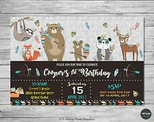 TRIBAL WOODLAND ANIMALS INVITATION INVITE 1ST FIRST BIRTHDAY PARTY CARD BOY