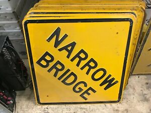 "Vintage Embossed NARROW BRIDGE Highway Sign Steel Metal / Square 24"" x 24"""