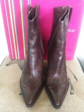 BCBGirls Brice Studded Ankle Brown Western Leather Size 8
