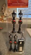 Christmas Village Lamp Post w/Wreath - 4 pack w/ Battery Pack NEW