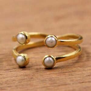 Pearl Front Open Adjustable Gold Plated Ring Size 8 925 Sterling Silver Jewelry