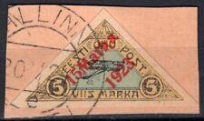 ESTONIA 1923 AIR MAIL STAMP Sc. # C3 USED ON PIECE