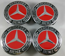 4 PC Mercedes Benz Wheel Center Caps Emblem Black + Red + Chrome Hubcaps 75MM