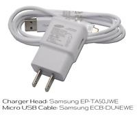 OEM Samsung EP-TA50JWE Travel Home Wall USB Charger / Micro USB Cable ECB-DU4EWE