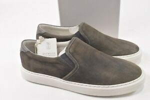 Brunello Cucinelli NWB Slip On Sneakers Size 45 12 US In Green Suede Shoes