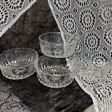 "Set of 4 Vintage Arcoroc France Starburst Diamond Pattern Clear Glass 5"" Bowls"