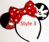 Mickey Disney Minnie Mouse Ears Headband polka dot mickey sequin ears HANDMADE