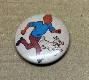 Tintin And Snowy Milou Badge 1980s Original Red Moon Nos
