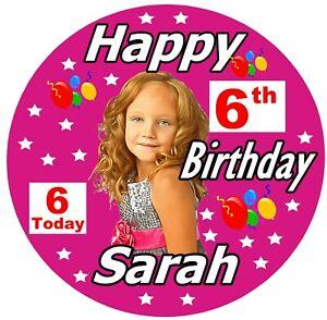 Ragazze Grande Personalizzato Compleanno Distintivo, Nome , Età , Foto, Colour &