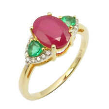 Red Ruby Emerald Diamonds 14K SOLID YELLOW GOLD  Ring Size 6.75 Women's Jewelry