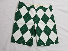 NEW LOUDMOUTH Golf Argyle Men's Shorts Size 36 Green/White