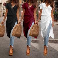 UK Women Sleeveless Tops V Neck Front Knot Blouse Ladies Loose Tunic Shirt Dress