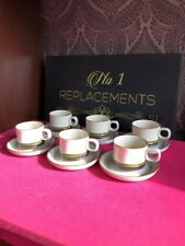 6 x Denby Potters Wheel Green Tea Cups And Saucers Set