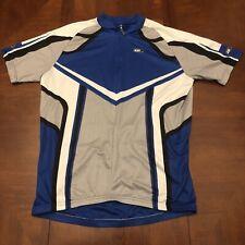 Louis Garneau Men's Cycling Jersey Large Blue Gray Half Zip Ride Fit Bicycle SS