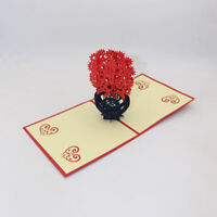 3D Pop Up Paper-cutting Greeting Card Handmade New Year Friend Cards Present New