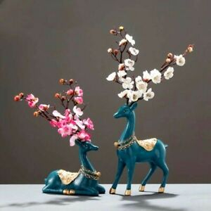 2Pcs Lucky Deer Resin Statue Figurine Ornament Tabletop Home Office Decoration S