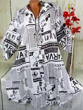 Bluse Shirt Retro Hemd Tunika Top Fischerhemd Leinen Zeitung A Linie Lang 44 46