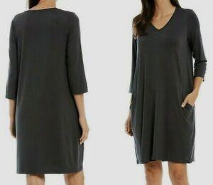 Eileen Fisher Black V-Neck Swingy Dress L fit M? Pockets,Stretchy Organic Cotton