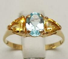 SYJEWELLERY 9CT SOLID YELLOW GOLD NATURAL BLUE TOPAZ & CITRINE RING SINE N R849