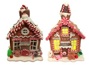 Lighted Gingerbread Houses Holiday Decor Set of 2  0036RM