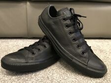 CONVERSE ALL STAR CHUCK TAYLOR Black FULL LEATHER Low Designer Trainers UK 8 VGC