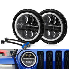 2 x 7inch 500W Round LED Halo DRL Angle Eye Car Headlight For Jeep Off Road 4x4