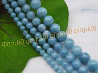 Natural 6/8/10/12mm Blue Larimar Round Gemstone Water Pattern Loose Beads 15''