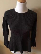 Ann Taylor Womens Knit Sweater Charcoal Gray XS Petite