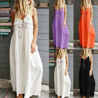 Women  Sleeveless Lace Casual Long Maxi Dress Summer Beach Strappy Sundress