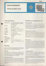 "Telefunken "" Musikus 105 BN "" /Phono-Service 1965 /Origl.Service Unterlagen"