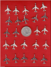 YOU GET 24 SILVER TONE AIRPLANE METAL CHARMS FROM JUNKMANRALF U.S. SELLER  - C31
