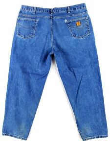 Carhartt 46x30 Relaxed Fit B17 Blue Jeans Classic Heavy Denim Work Pants Tapered