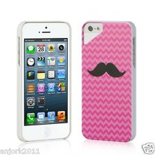 Apple iPhone 5 UV Coating Hard Case Back Cover Snap-On Accessory Pink Mustache