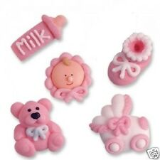PINK ICED BABY GIRL CHRISTENING BABY SHOWER CUPCAKE TOPPERS CAKE DECORATIONS
