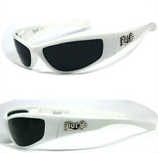 LOCS Motorcycle Bikers Gangsta Mens Wrap Around Designer Sunglasses - White LC53