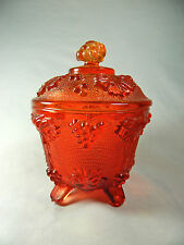 Vintage Depression Glass/Amber Red/Footed Candy Dish/By Jeanette/Grape &Vine/sm