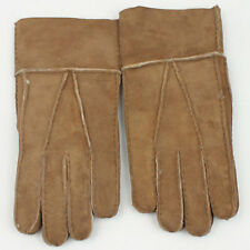 Winter Camel Color Genuine Sheepskin Leather Shearling Fur Mens Warm New Glove