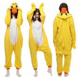 Cartoon Cosplay Unisex Adult Costume Jumpsuit Sleepwear Yellow Duck Pajamas Gift