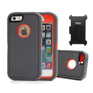 For iPhone SE 5 Hard Case Shockproof Defender Cover Screen Protector & Clip GO