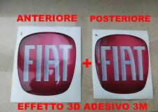 KIT ADESIVO STICKERS 3D 3M LOGO FIAT NUOVA 500 COFANO ANTERIORE + POSTERIORE