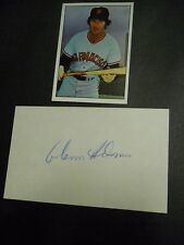 "Glenn Adams, Autograph on a 3"" x 5"" index card, with Baseball card, Outfielder"