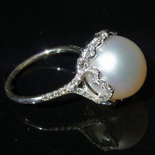Stunning Large South Sea Pearl Ring 13mm Figural 14K Gold Diamonds 1.26ct