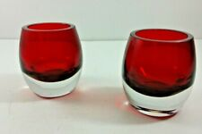 Hosley Red Glass Tea Light Holder Thick Bottom 3 Inches Tall Set of 2 New